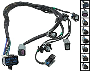 apdty 022190 fuel rail fuel injector wiring pigtail connector complete harness fits