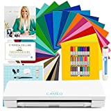 Silhouette CAMEO 3 Bluetooth Machine Bundle – Teresa Collins Exclusive Designs, 24 Oracal 651 Vinyl Sheets, 24 Sketch Pens, Transfer Paper, and More