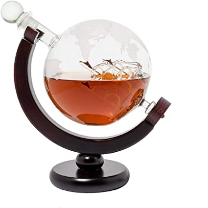 Gafas Globe Whisky Decantador Set, Decantador de Agua Grabado de Mundo Antiguo Tapón de Vidrio Dispensador de Licor Licores Scotch Bourbon Vodka Ron ...