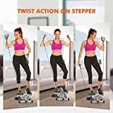 Mini Exercise Stepper Machine, Adjustable Fitness Stepper Air Stair Climber Step with Resistance Bands for Indoor Home Exercise [US STOCK]