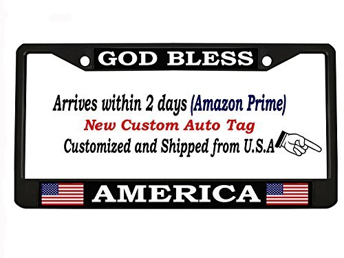 - GOD BLESS AMERICA black Metal Auto License Plate Frame Car Tag Holder