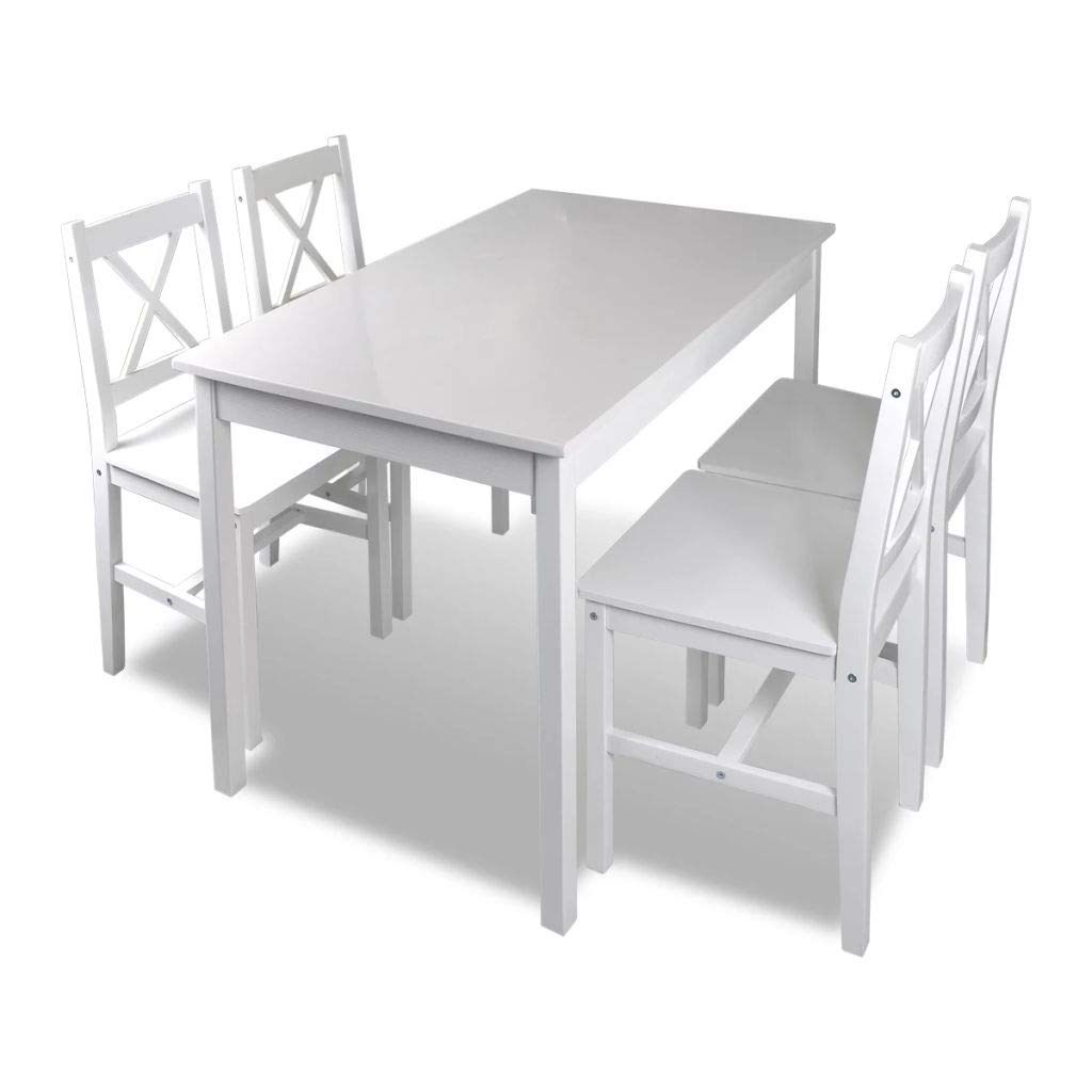 Tidyard Wood Kitchen Dining Table Set with 4 Wooden Chairs, Breakfast Dining Table Living Room Furniture Set White