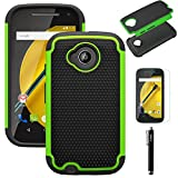 Moto E2(2nd Generation) Case, E-weekly(TM) [Shock Absorption]Hybrid High Impact Rugged Slim Protective Case Cover For Motorola Moto E 4G LTE 2nd Generation XT1527 / XT1528 2015 Release (Green)