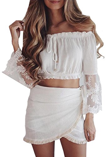 Longwu Womens Off Shoulder Summer Lace Sleeve Chiffon Blouse Crop Tops Casual T-shirts White-L (Contacts Business Handbook)