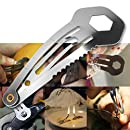 Eutuxia Mini Multitool Hair Clip. 8-in-1 Multifunction Stainless Steel Everyday Carry Tool Works as Flat Head, Small, and Large Screwdriver, Ruler, Cutter, 8mm(5/16) Wrench, Trolley Coin, and Hairpin.