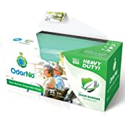 OdorNo ADU-2-4025 Odor-Barrier Disposable Bags; Perfect for Incontinence Products, Baby Diapers, Pet Waste, Garbage, Industrial Trash and Other Unpleasant Smells; Pack of 25 Bags, Capacity 2 Gallons