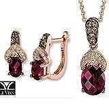 LE VIAN Rhodolite Garnet Chocolate Diamonds Earrings Pendant/Necklace Set 14K Rose Gold