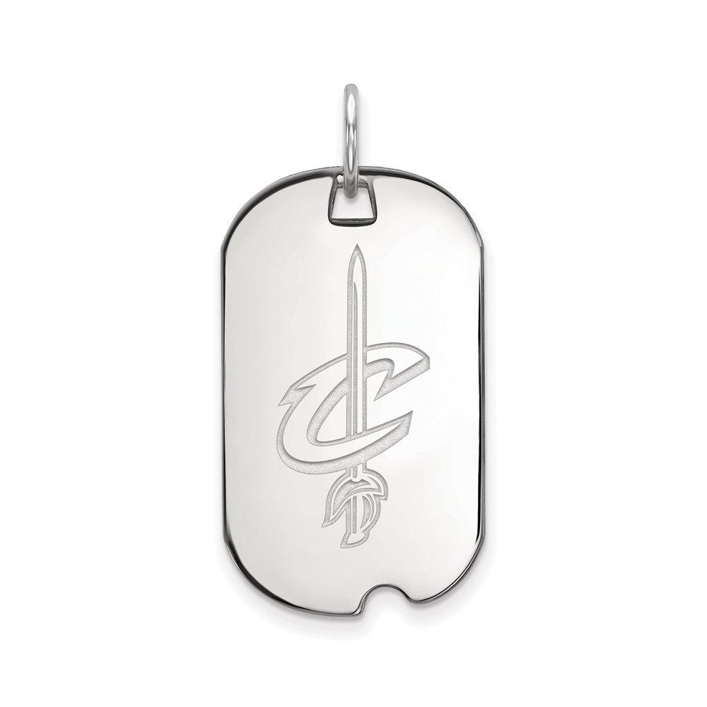 LogoArt NBA Cleveland Cavs Rhodium Plated Sterling Silver Small Dog Tag Pendant