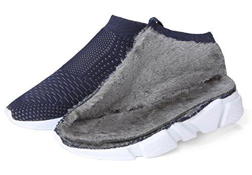 Woosen Donna Casual Traspirante Inverno Caldo Cotone Imbottito Scarpe Leggere Mocassini Scarpe Da Passeggio Blu Marino