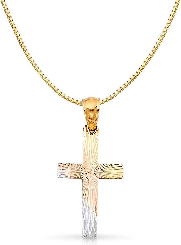 14K Tri Color Gold Religious Cross Stamp Charm Pendant with 0.8mm Box Chain Necklace
