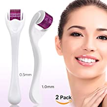 Derma Roller-540 Titanium Micro Needle Roller, For Face, Skin, Premium Quality Skin and Facial Care Tool For Home Skincare Use - Includes Free Storage Case (2 Pack-0.5 mm,1 mm)