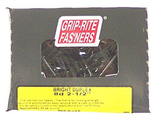- Grip Rite 8DUP5 5.150 lb Bright Double-Head Shank Duplex Nail, 2-1/4