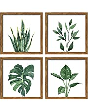 ArtbyHannah 10x10 Inch 4 Panels Botanical Framed Walnut Picture Frame Collage Set for Wall Art Decor with Watercolor Green Leaf Tropical Plant Prints for Gallery Wall Kit or Home Decoration