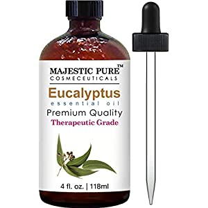 Majestic Pure Eucalyptus Essential Oil, 4 Fluid Ounce, Therapeutic Grade Eucalyptus Oil