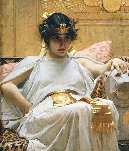 Neron Art Cleopatra por John William Waterhouse Reproducción Impresión Sobre Lienzo Sin Bastidor - 50X60cm Mitología...