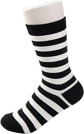Junlinto 1 par de Calcetines a Rayas de algodón Hip Hop Unisex Negro y Blanco Regalo Casual Moda a Rayas: Amazon.es: Hogar