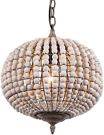 Newrays Wood Bead Chandelier Pendant Light Gray White Finishing Retro Vintage Antique Rustic Kitchen Ceiling Lamp Light Fixtures Globe