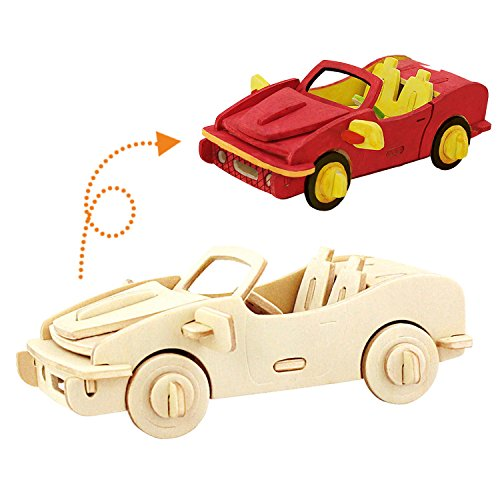 sterxy Robotime 3D Holz Puzzle Bausatz Fahrzeug Spielzeug, Malerei Racing Auto, das ich