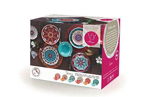 18 pi/èces Villa dEste Home Tivoli Shiraz Service de Table en Porcelaine//gr/ès Multicolore