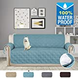 H.VERSAILTEX Non-slip and 100% Waterproof Furniture Protector Soft and Finish Crafted Sofa Protector/Slipcovers 75 inch X 112 inch (Smoke Blue)