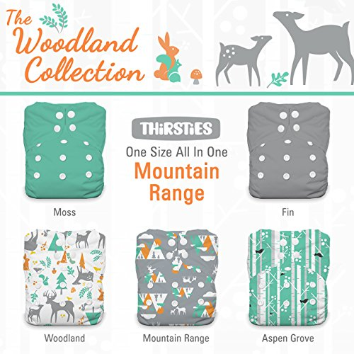 Thirsties Cloth Diapers (Thirsties Package , Snap One Size All In One, Woodland Collection Mountain)
