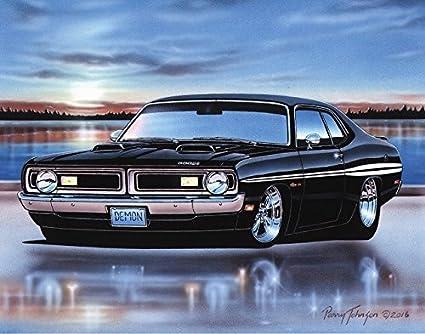Amazon Com 1971 Dodge Demon 340 Muscle Car Art Print Black 11x14