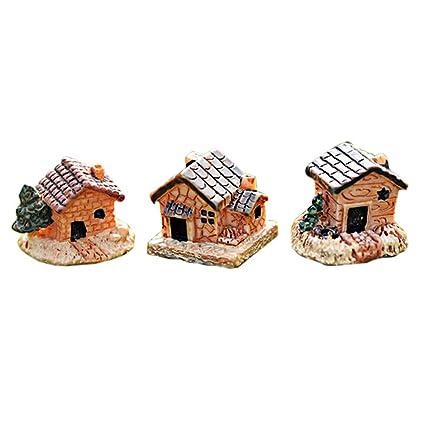 NPRADLA Casa de Piedra Decoraciones Manualidades Mini casa de Muñecas de Resina para el Hogar y