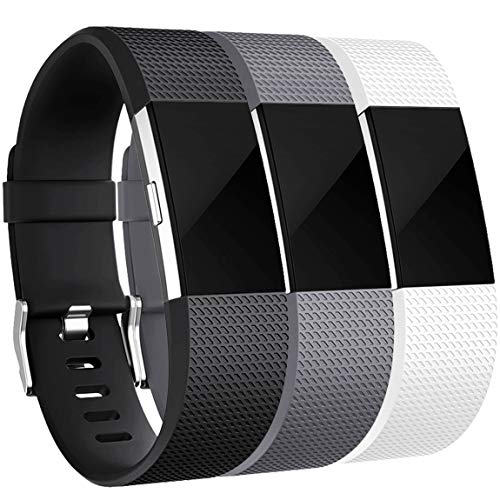 Maledan Bands Replacement Compatible with Fitbit Charge 2, 3-Pack, Black/White/Gray, Small