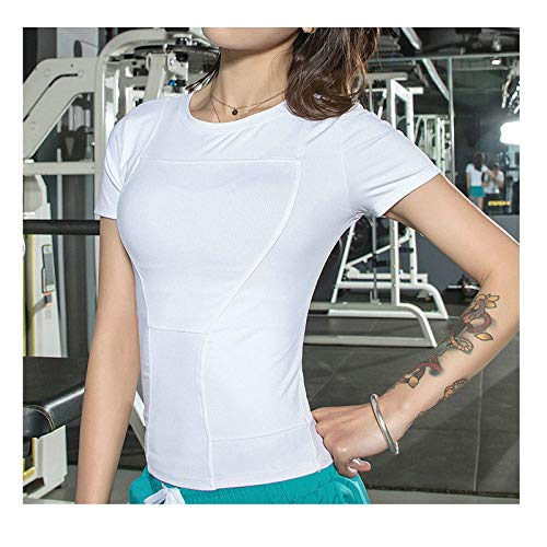 Gnzoe Sport Clothes - Women Active Seamless Short Sleeve Sport Workout Shirt for Yoga Running Training T-Shirt White-Small