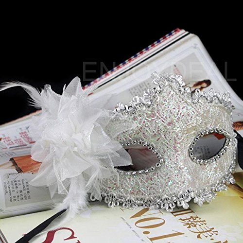 [Lily's Gift Eye Face Mask with Feather Flower for Masquerade Halloween Costume White] (Halloween Costumes White Eyes)