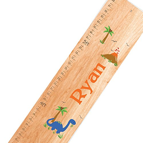 Personalized Natural Dinosaurs Childrens Wooden Growth Chart (Chart Growth Personalized Dinosaur)
