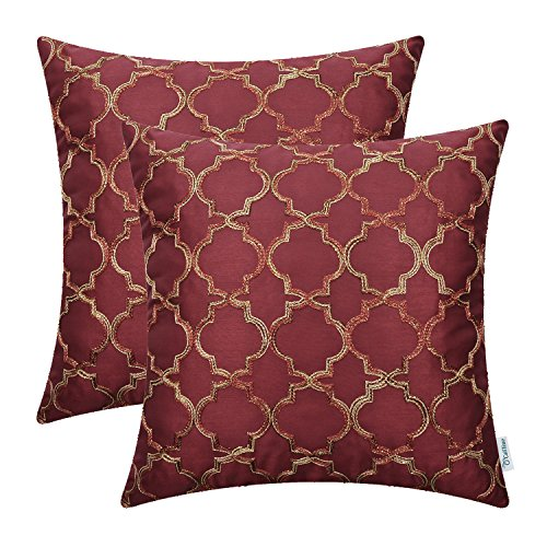 (CaliTime Pack of 2 Faux Silk Throw Pillow Covers Cases for Sofa Couch Home Decoration 18 X 18 Inches Gradient Quatrefoil Accent Geometric Chain Embroidered Deep Red )