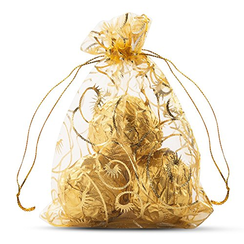 Wuligirl 100pcs Drawstring Organza Bag 4x6'' Gold for Jewelry Candy Pouches Chocolate Wedding Party Favor Bags for Soap,LipSense(Champagne Eyelash)