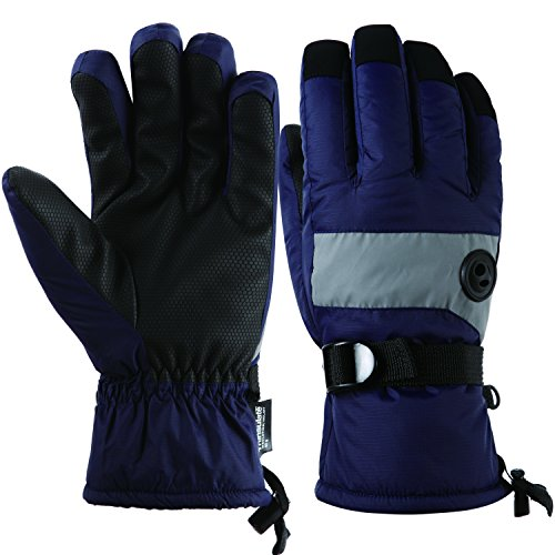 HighLoong Kids Waterproof Ski Snowboard Gloves Thinsulate Lined Winter Cold Weather Gloves for boys and girls (Navy, 8/9)
