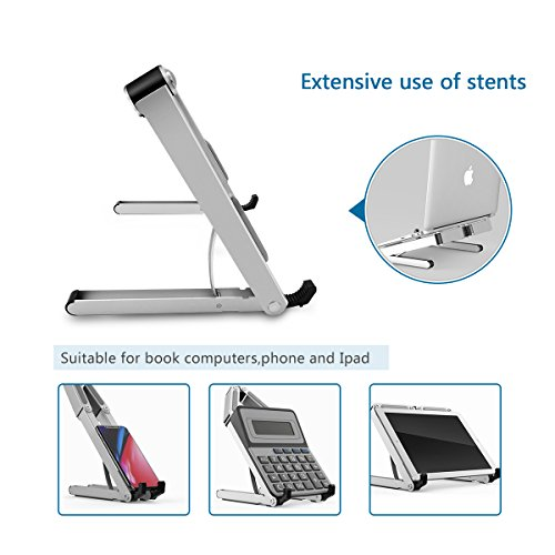 Aoafun Laptop Stand,Foldable Portable Ventilated,Holder with Lightweight&Space-Saving Design,Adjustable Ergonomic Laptop Cooling Stand Holder Aluminum N in 1(Silver) by Aoafun (Image #1)