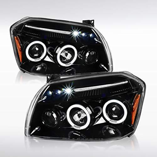 Autozensation For Dodge Magnum Slick Black Dual Halo Projector Headlights Pair W/LED (Dodge Magnum Srt8 Headlights)
