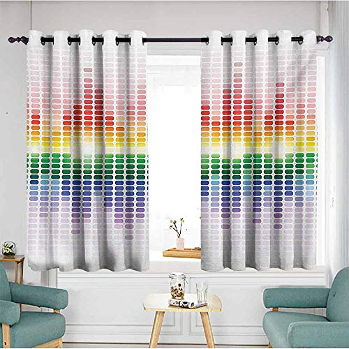 AndyTours Thermal Insulating Blackout Curtains,Music Rainbow Digital Style Equalizer Amplifier Recording Equipment Night Club Disco Theme,Blackout Draperies for Bedroom,W72x72L,Multicolor