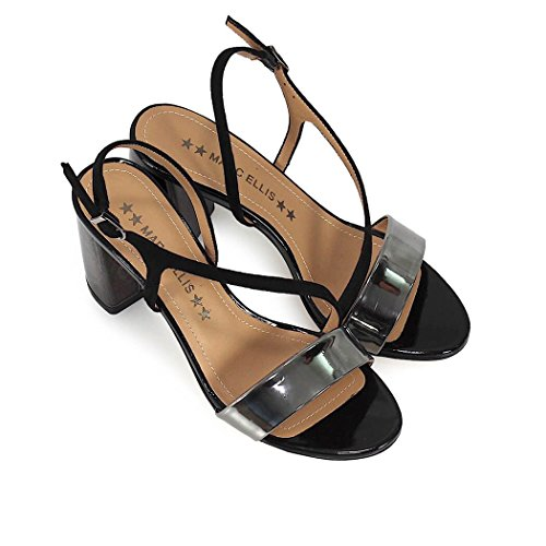 ELLIS MARC Black Mid Women's Summer Shoes Heeled 2018 Spring Sandal 4wfdwTqr