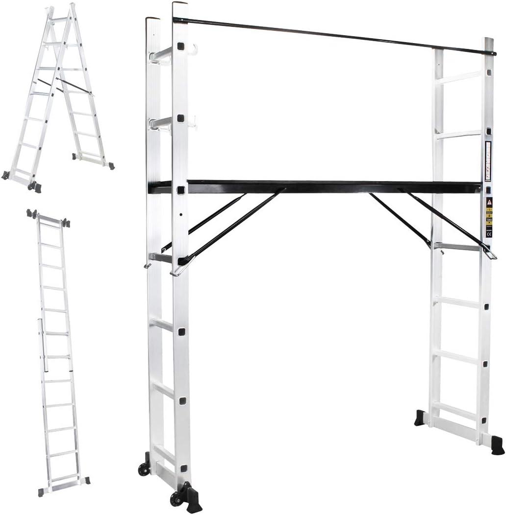 Craft Worx aluminio Multi Andamio 4 in1 multiusos Escalera XL multifunción Escalera Andamio caballete Escalera escalera escalera 1,95 m de altura 40,5 cm ancho: Amazon.es: Bricolaje y herramientas