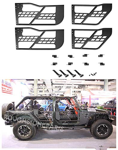 rough for 07-17 Jeep Wrangler JK Unlimited 4 Door Only Safari Steel Tube Doors No Mirror