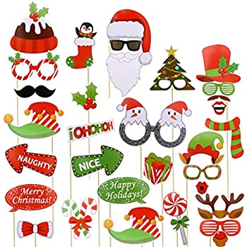 Christmas Party Pictures Clip Art.Tinksky Christmas Party Photo Booth Props Creative Happy Christmas Pose Sign Kit For Party Decoration 32pcs Set