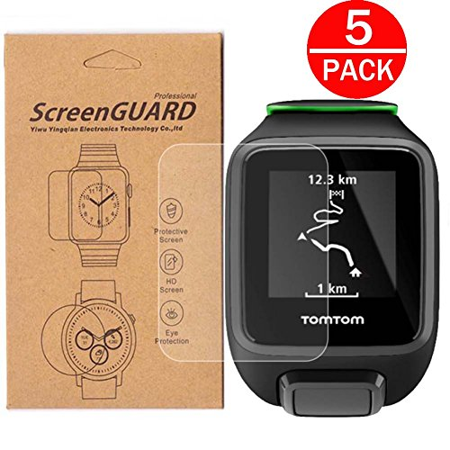 [5-Pack] For TomTom Adventurer/Runner 2/Runner 3 Watch Screen Protector, Full Coverage Screen Protector for TomTom Adventurer/Runner 2/Runner 3 Watch HD Clear Anti-Bubble and Anti-Scratch