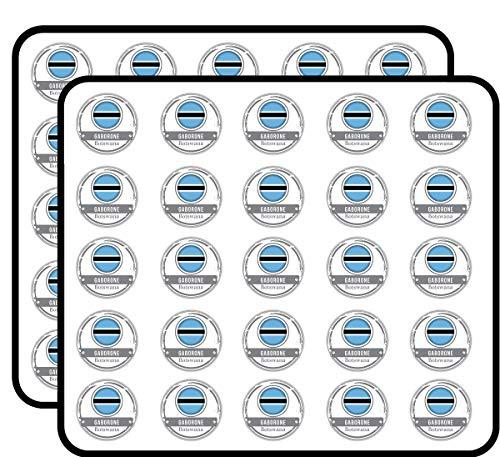 Gaborone Botswana Flag Stamp Art Decor Sticker for Scrapbooking, Calendars, Arts, Kids DIY Crafts, Album, Bullet Journals 50 Pack