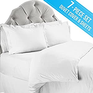 nestl bedding 7piece queen bed sheet set with duvet cover 2 pillow shams flat sheet fitted sheet and 2 pillow cases white - Queen Bed Sheets