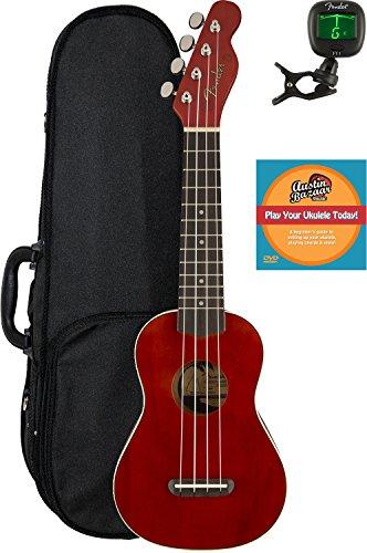 Fender Venice Soprano Ukulele - Cherry Bundle with Hard Case, Tuner, and Austin Bazaar Instructional DVD