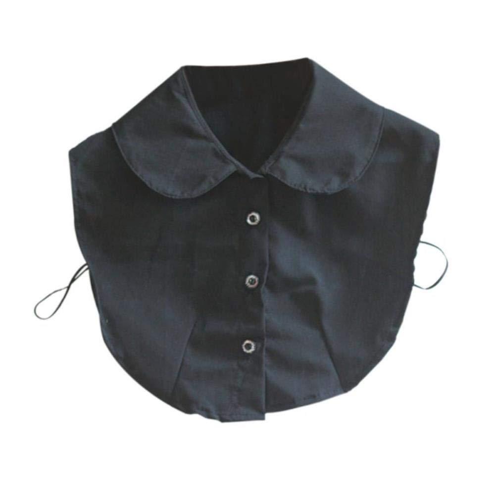 Blusa de cuello falso, con corbata blanca y negra, desmontable ...