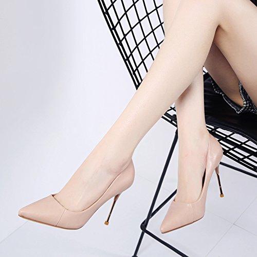 MDRW-Lady/Elegant/Arbeit/Freizeit/Feder Tipp einzelne Schuhe Feine gefolgt einfach 10 cm High-Heeled Schuhe einfach gefolgt die Schuhe der Wilde Frauen Schuhe pink b071d2