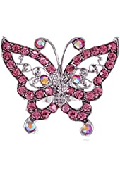 Alilang Adjustable Silver Tone Iridescent Pink Rhinestones Butterfly Heart Ring