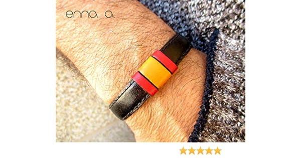 Pulsera bandera España en cuero negro: Amazon.es: Handmade
