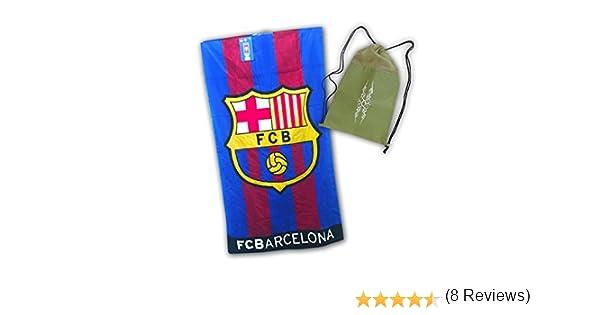 Toalla del FC BARCELONA de 100x170cm, 100% algodón. Con práctica mochila de regalo!: Amazon.es: Hogar